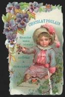 Chromo En Relief Chocolat POULAIN - Jeune Fille Cueillant Des Fruits Et Fleurs - Poulain