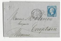 1865 - SARTHE - LETTRE De SILLE LE GUILLAUME Avec GC Pour COUPTRAIN Avec BUREAU DE PASSE 2188 AU DOS - 1849-1876: Période Classique