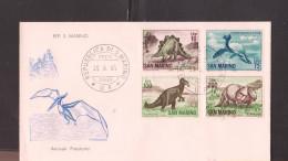 O) 1965 SAN MARINO, STEGOSAURUS,THAUMATOSAURUS VICTOR,IGUANODON,TRICERATORS-DINOSAURS-PREHISTORIC ANIMALS,FDC XF - FDC