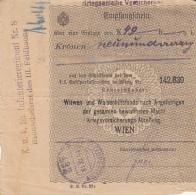 RECEIPT FOR WIDOWS AND ORPHANS HELPING FUND, CENSORED, 1918, AUSTRIA - Austria