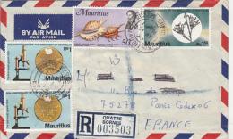 PENICILLIN, MICROSCOPE, SPIDER SHELLS, STAMP ON REGISTERED COVER, 1978, MAURITIUS - Mauritius (1968-...)