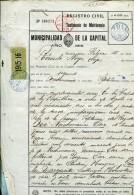 MUNICIPALIDAD DE LA CAPITAL TESTIMONIO DE MATRIMONIO AÑO 1916  ZTU. - Historical Documents