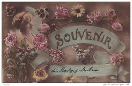 88) MARTIGNY LES BAINS - SOUVENIR  - (CARTE FANTAISIE - PORTRAIT DE JEUNE FILLE AVEC FLEURS - 2 SCANS) - France