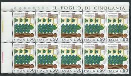 Italia 1973; Fiera Internazionale Dell'agricoltura A Verona, Blocco D' Angolo Di 10 Valori. - 6. 1946-.. Repubblica