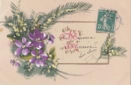 Matériaux - Celluloïd Celluloïde - Carte Porcelaine - Carte Peinte Mimosa Violette - Cartes Porcelaine