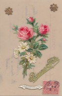 Matériaux - Celluloïd Celluloïde - Carte Porcelaine - Découpi Roses Bonne Fête - Cartes Porcelaine