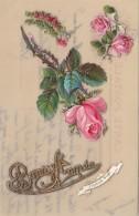 Matériaux - Celluloïd Celluloïde - Carte Porcelaine - Découpi Roses - Bonne Année - Cartes Porcelaine
