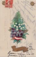 Matériaux - Celluloïd Celluloïde - Carte Porcelaine - Découpi Sapin De Noël 1909 - Cartes Porcelaine