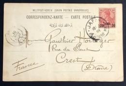 Oblitération JAFFA DEUTSCHE POST Sur Germania 20 Para Sur Carte Postale Jaffa Vers Crest Drôme 1901 - Other