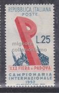MC 1952 Repubblica Fiera Di Padova 25 Lire MNH** - 1946-.. République