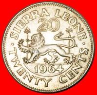§ LION: SIERRA LEONE ★ 20 CENTS 1964 MINT LUSTER! LOW START ★ NO RESERVE! Sir Milton Margai (1895-1964) - Sierra Leone