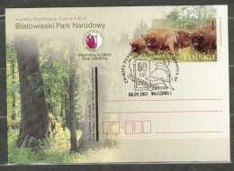 Entier Postal 2001, ROI WLADYSLAW IV Casque 80 Ans Sapeur Pompier Bison Foret Arbre - Stamped Stationery