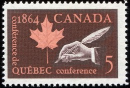 CANADA 1964, # 432,  QUEBEC CONFERENCE : QUILL & MAPLE LEAF , M NH - Neufs