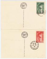 France 1938 Musee De Louvres Samothrace Yv 354 - 355 A Deux Carte De Louvres