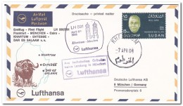 Soedan 1968, First Flight Airmail Letter, Frankfurt-München- Cairo-Khartum-Entebbe-Dar Es Salaam - Soedan (1954-...)