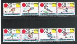 REPUBLIQUE RWANDAISE -1972 - 8 VALORI NUOVI STL DEDICATI AI GIOCHI OLIMPICI INVERNALI DI SAPPORO - IN OTTIME CONDIZIONI.