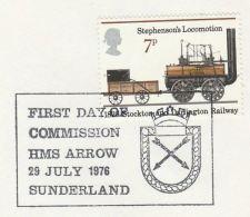1976 Sunderland GB COVER EVENT Pmk HMS ARROW Illus Arrow Navy Ship Archery Stamps