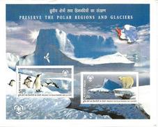 Protection Des Régions Polaires (Ours Blanc & Manchots) Bloc-feuillet Neuf ** De L'INDE/INDIA - Préservation Des Régions Polaires & Glaciers