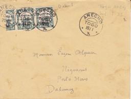 Togo ,n° 24 , 2 Timbres Et Demi Dont Un Avec Le O étroit ,pour Le Dahomey ,1915 ,2 Scans - Togo (1914-1960)