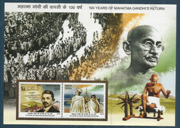Hommage à GANDHI, Un Bloc-feuillet Neuf ** (100 Years Of Mahatma Gandhi's Return To India), Année 2015 - Mahatma Gandhi