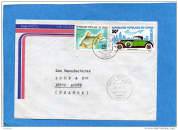 MARCOPHILIE-lettre-CONGO>Françe-cad1979-2--stamps-N°379 Poisson+N°456 ROLLS ROYCE-car-- - Congo - Brazzaville