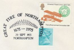 1975 GB COVER EVENT Pmk 1675 GREAT FIRE OF NORTHAMPTON Illus Flames, Stamps - Firemen