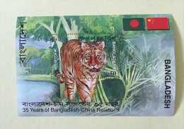 Bangladesh China Diplomatic Relationship Year Of The TIGER Lunar Year Wildlife Wild Cat Fauna Flag Ms Souvenir  - Bangladesh