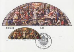 Carte  Maximum  1er  Jour  MONACO   Vitrail  De  Sainte  Dévote  1988 - Vetri & Vetrate