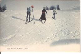 (ski) Skieurs Avec Rehauts De Couleurs, 1913, TBE. - Sports D'hiver