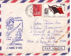 JEANNE D'ARC - ESCALE DE HAITI - PORT AU PRINCE - 1-5/12/1975 - AFFRANCHISSEMENT MIXTE FRANCE /HAITI - CACHET PORTE HELI - Naval Post