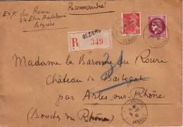 HERAULT - BEZIERS - LETTRE RECOMMANDEE AVEC TYPE MERCURE ET CERES - LE 5-1-1941. - Postmark Collection (Covers)