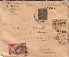 RHONE - LYON GUILLOTIERE - LETTRE CHARGEE RECOMMANDEE A DEUX MILLE QUARANTE FRANCS AVEC TYPE MERSO ET SEMEUSE-CACHET DE - Postmark Collection (Covers)