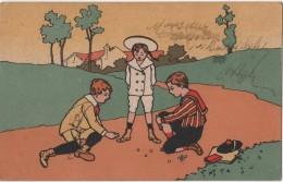 Carte Publicitaire MAISON FERCOQ A ASNIERES TEINTURE LA MAURESQUE  Enfants Jeu De Billes - Publicidad