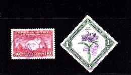 1936 - 1937  COSTA RICA  O/FINE CANCELLED - COCO ISL & ORCHID - Yv 173  178    Mi 194  198 - Costa Rica