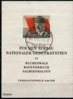 Abart E In Sachsenhausen Thälmann 1956 DDR Block 14 O 60€ Porträt Bloque Hoja Bloc Flag M/s History Sheet Bf GDR Germany
