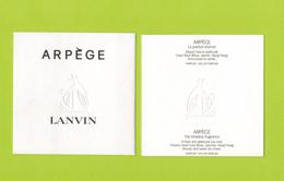 Cartes Parfumées Carte ARPEGE   De LANVIN - Modern (from 1961)
