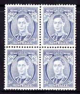 Australia 1937 King George VI 3d Blue Die 1 Block Of 4 Mint  SG 168 - 1937-52 George VI