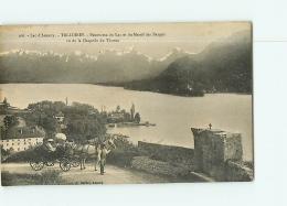TALLOIRES : Attelage, Panorama Du Lac Et Massif Des Bauges, Vue De La Chapelle Du Thoron. 2 Scans. Edition Gardet - Talloires