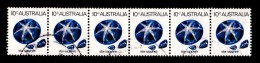 Australia 1973 Gemstones 10c Star Sapphire Strip Of 6 Used - 1966-79 Elizabeth II