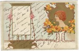 FEMME AUX ROSES JAUNES Illustrateur Non Signé Style Mucha Art Nouveau Précurseur 1902 Sockl Vienne Wien - Illustrators & Photographers