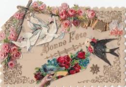 Matériaux - Celluloïd Celluloïde - Carte Porcelaine - Découpis  Colombes Roses Hirdondelle - Saint Louis - Cartes Porcelaine
