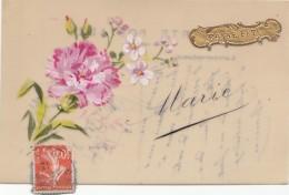 Matériaux - Celluloïd Celluloïde - Carte Porcelaine - Peinte - Oeillet - Marie - 1913 - Cartes Porcelaine