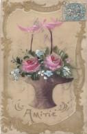 Matériaux - Celluloïd Celluloïde - Carte Porcelaine - Peinte - Bouquet Amitié - Cartes Porcelaine