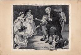 Matériaux - Carte Tissée Soie - Jeux Enfants Colin Maillard - Chien Colley - Artist F. Morgan - Cartes Postales