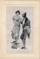 Matériaux - Carte Tissée Soie - Couple Femme Mode 19ème - Cartes Postales