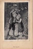 Matériaux - Carte Tissée - Enfants - Garçon Et Fillete Perdus Forêt - Tissage Soie - Artist Wunsch - Cartes Postales