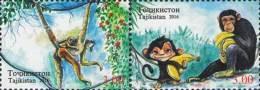 Tajikistan 2016 Lunar New Year Monkey 2v Se-ten MNH - Tajikistan