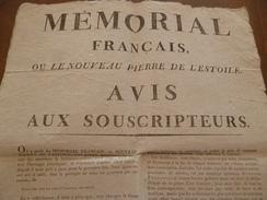 Appel Aux Souscripteur Mémorial Français Ou Le Nouveau Pierre De L'Estoile Révolution Journal Littérature 2 X A3 Environ - Wetten & Decreten