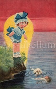 CPA / Postcard / Bertiglia Style / Girl / Fille / Dog / Chien / Doll / Poupée / 2 Scans - Bertiglia, A.