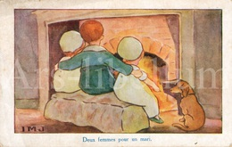 CPA / Postcard / IMJ / Deux Femmes Pour Un Mari / Dog / Chien / Children / Ed. C. W. Faulkner / London / 2 Scans - Hunde